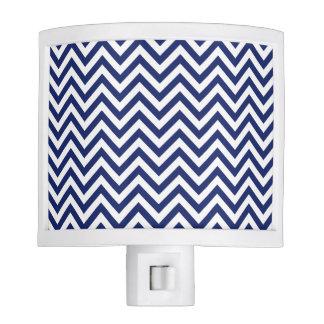 Navy Blue and White Zigzag Stripes Chevron Pattern Night Lights