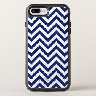 Navy Blue and White Zigzag Stripes Chevron Pattern OtterBox Symmetry iPhone 8 Plus/7 Plus Case