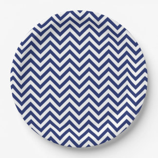 Navy Blue and White Zigzag Stripes Chevron Pattern Paper Plate