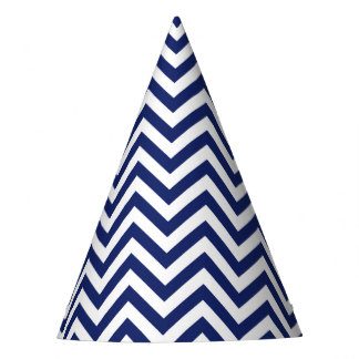 Navy Blue and White Zigzag Stripes Chevron Pattern Party Hat