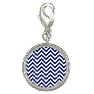 Navy Blue and White Zigzag Stripes Chevron Pattern Photo Charm
