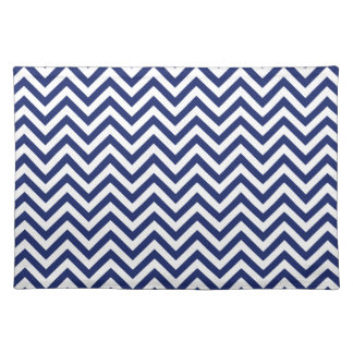 Navy Blue and White Zigzag Stripes Chevron Pattern Placemat