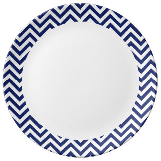 Navy Blue and White Zigzag Stripes Chevron Pattern Plate