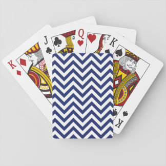 Navy Blue and White Zigzag Stripes Chevron Pattern Playing Cards