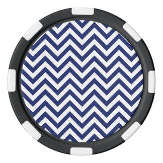 Navy Blue and White Zigzag Stripes Chevron Pattern Poker Chips