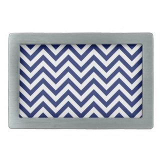 Navy Blue and White Zigzag Stripes Chevron Pattern Rectangular Belt Buckles