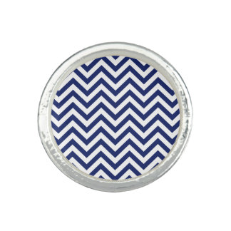 Navy Blue and White Zigzag Stripes Chevron Pattern Rings
