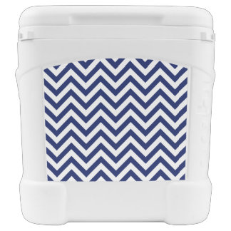 Navy Blue and White Zigzag Stripes Chevron Pattern Rolling Cooler