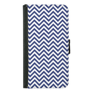Navy Blue and White Zigzag Stripes Chevron Pattern Samsung Galaxy S5 Wallet Case