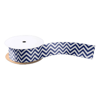 Navy Blue and White Zigzag Stripes Chevron Pattern Satin Ribbon