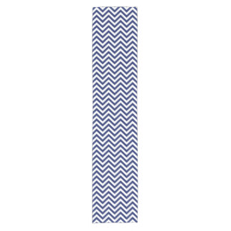 Navy Blue and White Zigzag Stripes Chevron Pattern Short Table Runner