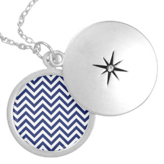 Navy Blue and White Zigzag Stripes Chevron Pattern Silver Plated Necklace