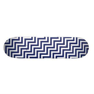 Navy Blue and White Zigzag Stripes Chevron Pattern Skateboard