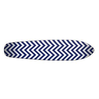 Navy Blue and White Zigzag Stripes Chevron Pattern Skateboards