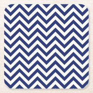 Navy Blue and White Zigzag Stripes Chevron Pattern Square Paper Coaster