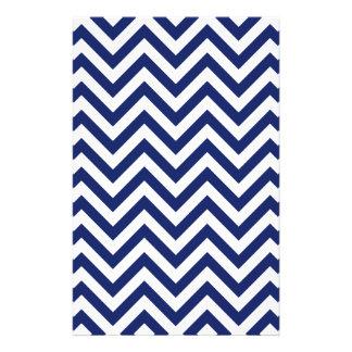 Navy Blue and White Zigzag Stripes Chevron Pattern Stationery