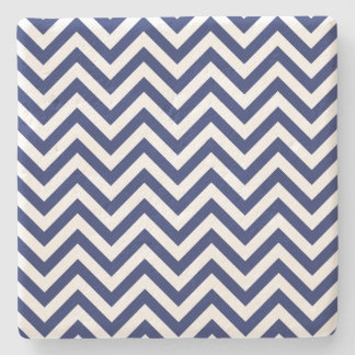 Navy Blue and White Zigzag Stripes Chevron Pattern Stone Coaster
