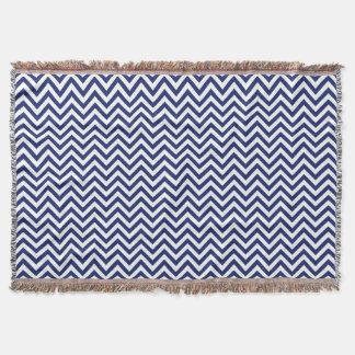 Navy Blue and White Zigzag Stripes Chevron Pattern Throw Blanket