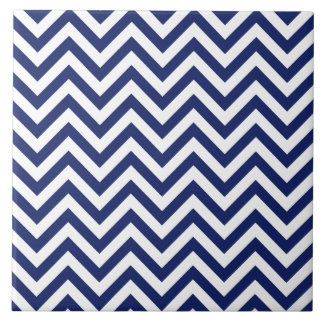 Navy Blue and White Zigzag Stripes Chevron Pattern Tile