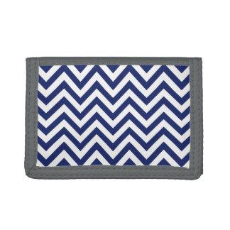 Navy Blue and White Zigzag Stripes Chevron Pattern Tri-fold Wallets
