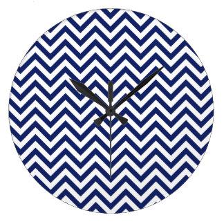Navy Blue and White Zigzag Stripes Chevron Pattern Wall Clocks