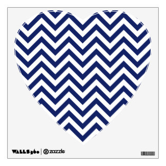Navy Blue and White Zigzag Stripes Chevron Pattern Wall Decal