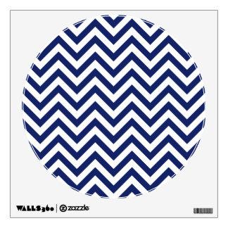 Navy Blue and White Zigzag Stripes Chevron Pattern Wall Sticker