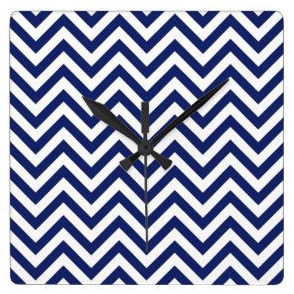 Navy Blue and White Zigzag Stripes Chevron Pattern Wallclocks