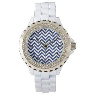 Navy Blue and White Zigzag Stripes Chevron Pattern Watch
