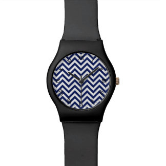 Navy Blue and White Zigzag Stripes Chevron Pattern Watch