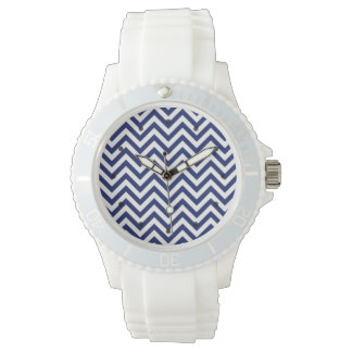 Navy Blue and White Zigzag Stripes Chevron Pattern Watches