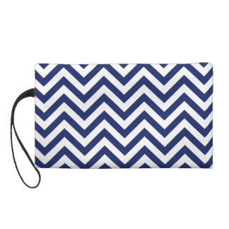 Navy Blue and White Zigzag Stripes Chevron Pattern Wristlet
