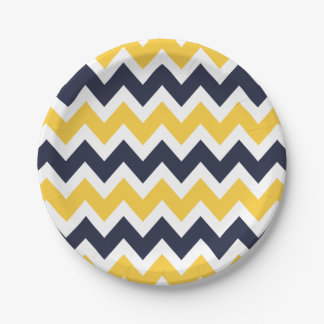 Navy Blue and Yellow Chevron 7 Inch Paper Plate