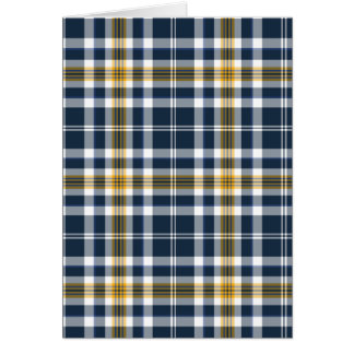 Navy Blue and Yellow Gold Sporty Plaid Card