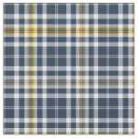 Navy Blue and Yellow Gold Sporty Plaid Fabric