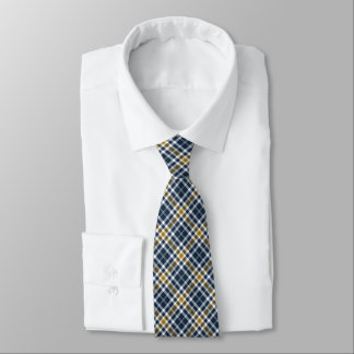 Navy Blue and Yellow Gold Sporty Plaid Tie