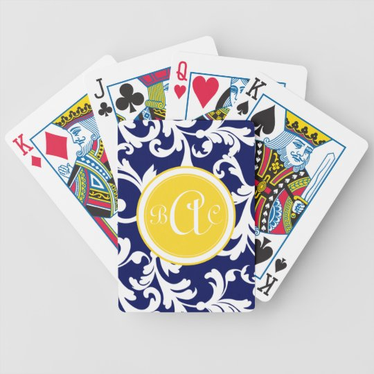 Navy Blue and Yellow Monogrammed Damask Print Poker Deck