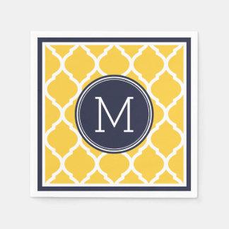 Navy Blue and Yellow Quatrefoil Wedding Monogram Disposable Napkins
