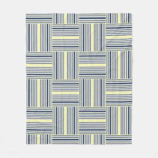 Navy Blue and Yellow Stripe Block Throw Fleece