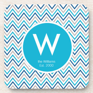 Navy Blue Aqua Grey Chevron Zigzag Coaster