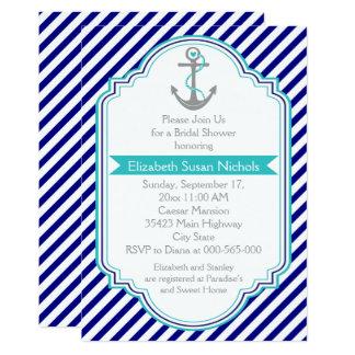 "Navy blue, aqua nautical wedding bridal shower 5"" x 7"" invitation card"