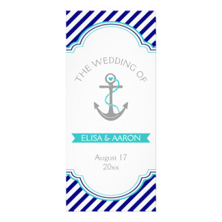 Navy blue, aqua nautical wedding program