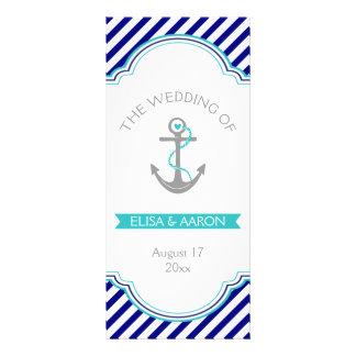Navy blue, aqua nautical wedding program rack card design