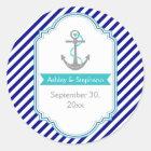 Navy blue, aqua nautical wedding Save the Date Classic Round Sticker