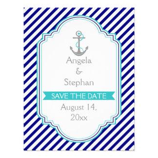 Navy blue, aqua nautical wedding Save the Date Personalized Invites