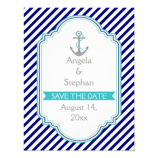 Navy blue, aqua nautical wedding Save the Date Personalized Invites