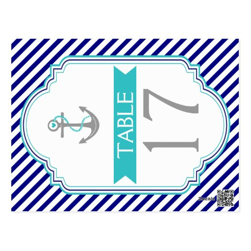 Navy blue, aqua nautical wedding table number postcards