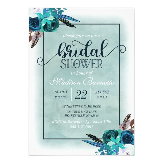 Navy Blue Aqua Watercolor Bridal Shower Invitation