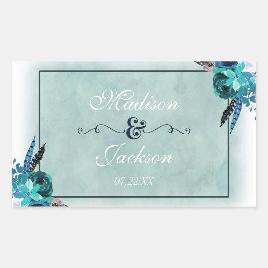 Navy Blue Aqua Watercolor Floral Wedding Monogram Sticker