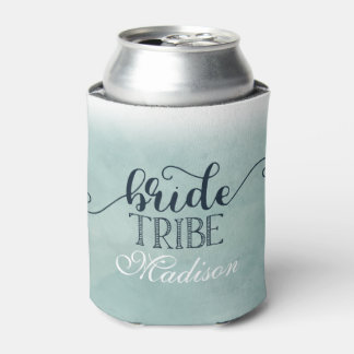Navy Blue Aqua Watercolor Wedding Bride Tribe Can Cooler